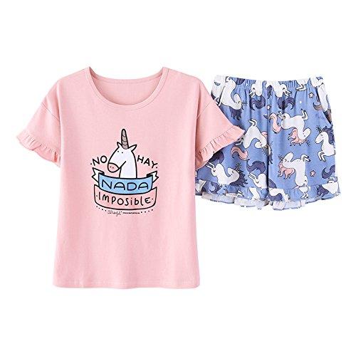AOWEI EC Mujer 2 Piezas Pijama Algodon de Verano Corto Lencero Unicornio Impreso Lindo Ropa Hogar # Pink L