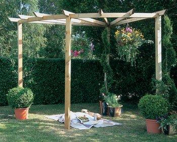 Radial Corner Wooden Pergola OGD065