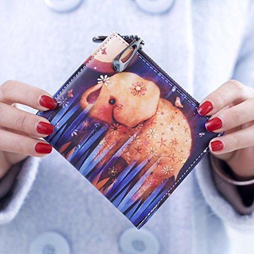 Cozywind Borsa frizione breve portafoglio Donna Corto Della Moneta Pelle Cerniera Vintage Graffiti Sottile (Short-Fox) Short-Elephant