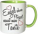Mister Merchandise Kaffeebecher Tasse Engel ohne Flügel nennt man Tante Schwanger Baby Pate beste Freundin Tantchen Schwester Teetasse Becher Weiß-Grün