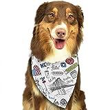 Hipiyoled Pet Bandanas New York Doodle Pattern Adjustbable Collars Pet Bandana Bibs for Puppy Cats