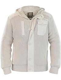 Crosshatch Mens Charnock Knitwear Designer Faux Fur Lined Jacket