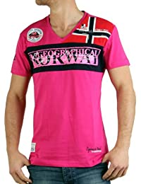 Homme T-shirt Jyer Hommes de Géographique Norvège V-Neck Col V blanc