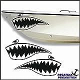 2 x böses Fischmaul Aufkleber aus Hochleistungsfolie - viele Farben zur Auswahl - Angler Angelboot Sticker Boot Boote Beschriftung Bug Heck Fische Angeln Schlauchboot Nautic See Fischer