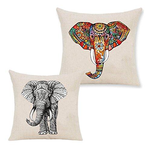 CHRISLZ Funda de almohada de algodón de lino Decoración de casa de cojín de almohada cubierta de almohadilla de lanzamiento de elefante creativo de impresión (45x45cm)