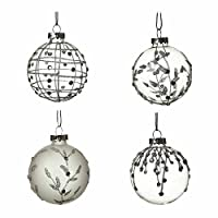 Set of 4 Frosted Glass Christmas Baubles (7cm) by Heaven Sends