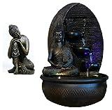 Zimmerbrunnen Innenbrunnen Feng Shui Twin Buddha LED Farb Beleuchtung 40 cm