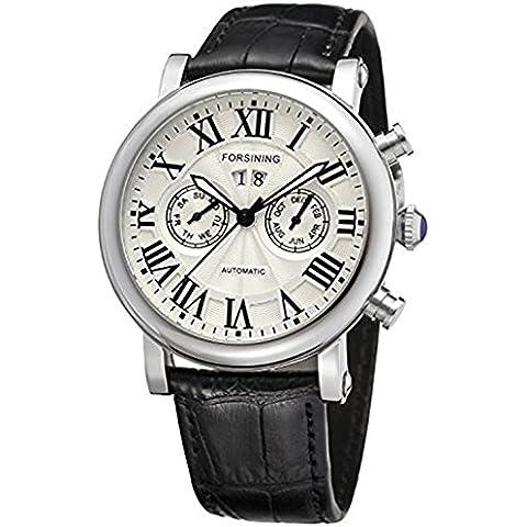 downj da uomo elegante calendario automatico argento quadrante bianco orologio con cinturino in pelle nero & # 65292; & # 65292; Numeri Romani - Seiko Moon Watch