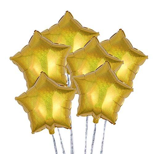 s Stern 18 Zoll Dekoration Folie Helium Ballons für Party Valentinstag Hochzeit 6Pcs (Gold) ()