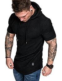 Amaci Sons Oversize Vintage Herren Kurzarm T-Shirt Kapuzen Sweatshirt 4041 90a6e05582