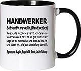 Mister Merchandise Kaffeebecher Tasse Handwerker Definition Geschenk Gag Job Beruf Arbeit Witzig Spruch Teetasse Becher Weiß-Schwarz