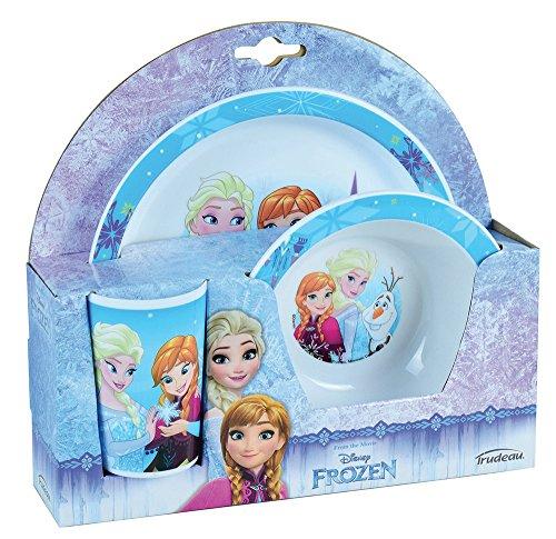 FUN HOUSE 005519 Disney Reine des NEIGES Ensemble Repas Contenant 1 Assiette, 1 Bol et 1 Verre pour Enfant, Polypropylène, Bleu, 26,5 x 8,5 x 24,5 cm