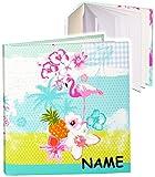 Unbekannt Notizbuch / Tagebuch -  Flamingo & Hibiskus Blume - Hawaii  - incl. Name - blanko weiß - 96 Seiten - Dickes Buch gebunden - Reisetagebuch / Poesiealbum - So..