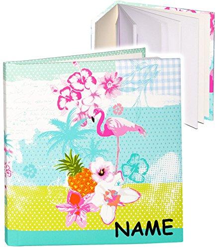 alles-meine.de GmbH Poesiealbum / Notizbuch -  Flamingo & Hibiskus Blume - Hawaii  - incl. Name - blanko weiß - Dickes Buch gebunden - 96 Seiten - Reisetagebuch / Tagebuch - So..