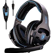 SADES SA810 Neu Aktualisiert Xbox One Kopfhörer über Ear-Stereo Gaming Headset Bass Gaming-Kopfhörer mit Noise Isolation Mikrofon für neue Xbox One PC PS4 Laptop Telefon (Neue schwarze Version)