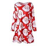 Luckycat Damen Weihnachten Santa Printed Dress Damen Langarm Minikleid Abendkleider Cocktailkleid Partykleider Blusenkleid Mode 2018