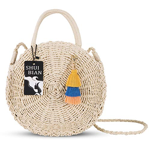 SHUIBIAN Runde Stroh Strandtasche Sommer Vintage Handarbeit Umhängetasche Kreis Rattan Tasche böhmische Umhängetasche für Frauen (Stroh Aus Vintage Taschen)