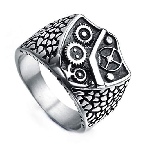 Ueice Persönlichkeit Antiquität Ausrüstung Design Rostfreier Stahl Ringe Für Männer,Schild,Größe 62 (19.7)