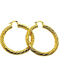 Vonchic 9ct Gold Plated Hinged Hoop Sleeper Creole Earrings 12mm 15mm 18mm