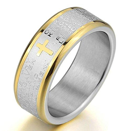 Adisaer Edelstahl Ringe Herren Vintage Silber Gold Bible Lords Prayer Kreuz Polished Größe 65(20.7)