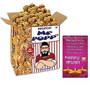 Bogatchi Mr. Popp's Caramel Popcorn Handcrafted Gourmet Popcorn Snacks, 375g with Free Happy Diwali Greeting Card