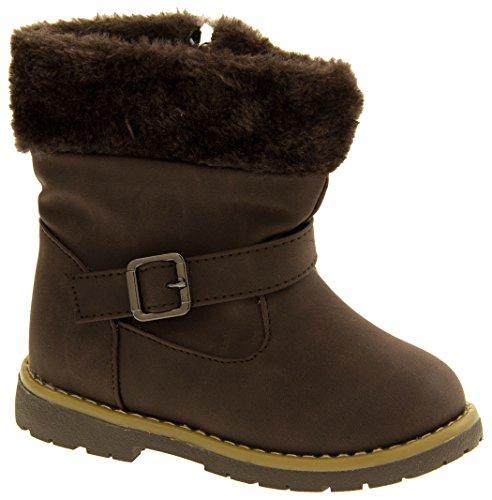 Kiddiflex Filles Superbes bottes d'hiver Casual en faux cuir brown