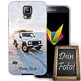 Mobilefox Eigenes Auto Handyhülle Personalisiertes Geschenk dünne Silikon TPU Case Foto Motiv für Samsung Galaxy S5/Neo Mit Text