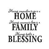 TOOGOO(R)Home Family Blessing Englischer Wand Aufkleber Abnehmbares Wand Dekor