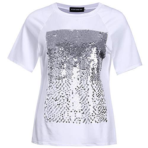 Pareos & Strandkleider für Damen 2 STÜCKE Casual Joker Kurzarm T-Shirt Lose Casual Joker Pailletten Kurzarm T-Shirt, Weiß, M -