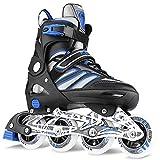 WeSkate Inline Skates Rollschuhe mit ABEC-7 Kugellager und 80MM 82A Rollen, Größe Verstellbar 41-44 für Anfänger, Jugend und Erwachsene, Blau-Schwarz