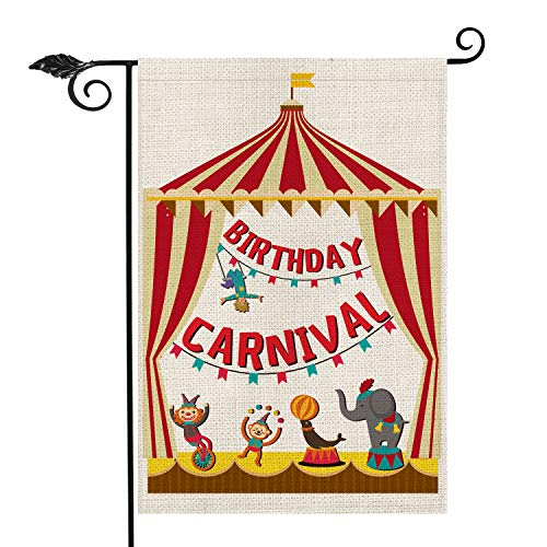 AVOIN Karneval Zirkus Geburtstag Party Garten Flagge Vertikal doppelseitig Elefant Meer Löwe AFFE Clown Strongman Rustikal Bauernhaus Jute Flagge Hof Outdoor Dekoration 31,5x45,7 cm