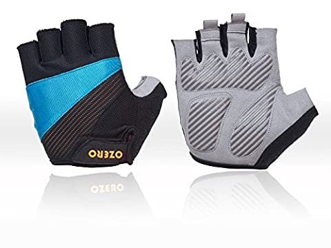 OZERO Fingerless Gloves, Bike Gloves with Anti-slip Shock-absorbing- Breathable and Comfortable for Women and Men (Blue, Large)