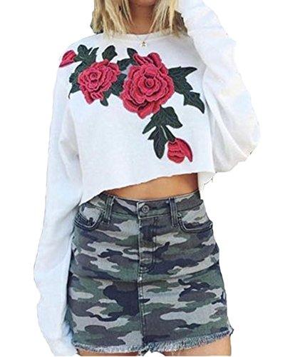Donna Manica Lunga Felpe Scollo Rotondo Stampato Crop Top Pullover Maglione Bianca
