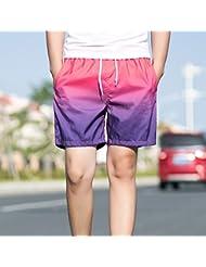 PZLL Cortocircuitos ocasionales de los hombres en verano, con estilo degradado viajar cinco pantalones, shorts de Playa Surf , pink purple , xl