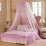 Steellwingsf - Mosquitera redonda de estilo dulce para decoración de cama, diseño de cúpula, Morado, talla...