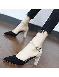 Xue Qiqi Zapatos de la Corte Costura de Satén, ranurados para Elegante Simple Solo Zapatos con Punta Hueca Gruesa...