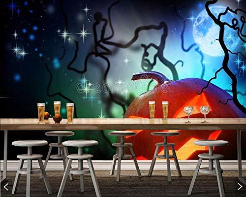 GBHL Halloween Kürbis Licht 3d Kinder wallpaepr, Wohnzimmer Schlafzimmer Sofa TV Wand Küche restuarnt KTV Bar Wandbild, 350x245 cm