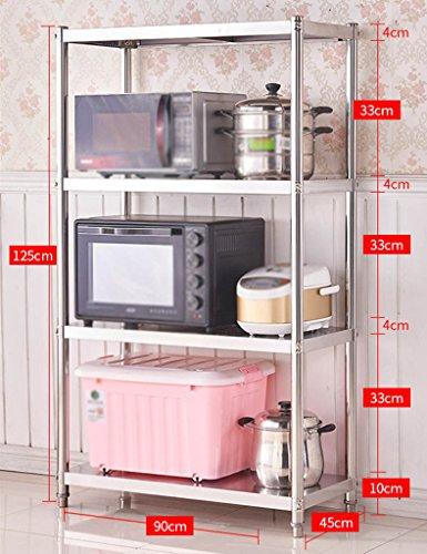 HWF Etagères de cuisine Ensemble de cuisine de plancher Étagère de cuisine Ensemble de four à micro-ondes Acier inoxydable (Couleur : 125 * 90 * 45cm)