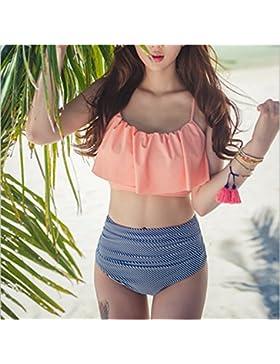 Alta altura, moderno y cómodo bikini _ alta banda de cintura cómoda y moderna, los bordes de las hojas de loto...