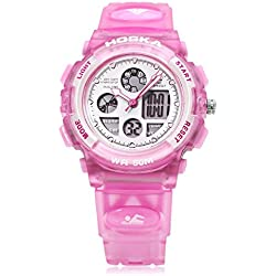Leopard Shop HOSKA H003S Multifunctional Digital Wristwatch Quartz Children Sport Watch Chronograph Calendar Alarm EL Backlight Water Resistance Pink