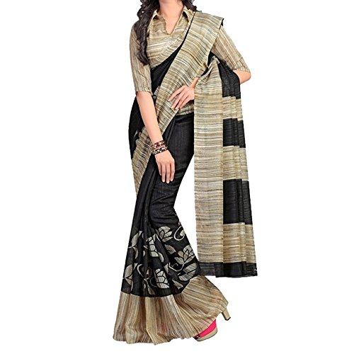 Sarees (Sai Fab Women\'s Branded Indian Style Bhagalpuri Silk Black Printed Elegant Saree With Blouse Piece)