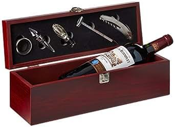 Geschenkset Weinset Chateau Repimplet Cotes de Bourg Bordeaux AOC Merlot trocken mit Holzkiste (1 x 0.75 l)