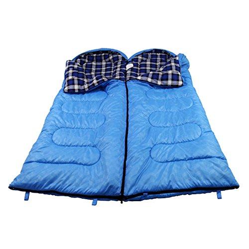 Unibest Deckenschlafsack mit Kopfteil NS70 Baumwolle 2er Pack koppelbar blau