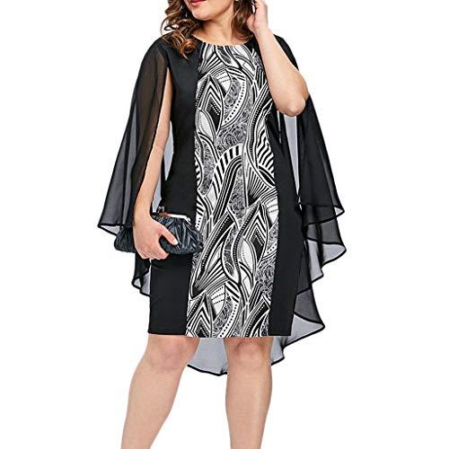 LILIHOT Mode Frauen Plus Größe Chiffon gedruckt Oansatz Overlay ärmelloses Kleid Sommerkleid Damen T-Shirt Kleid Rundhals Kurzarm Minikleid Blumen Strandkleider Langes Shirt -
