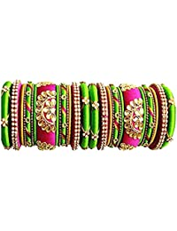New Model Party Wear Silk Thread Jewellery Bangle Set, With Fully Designed Pink-Green-Gold Color Silk Thread Bangles...