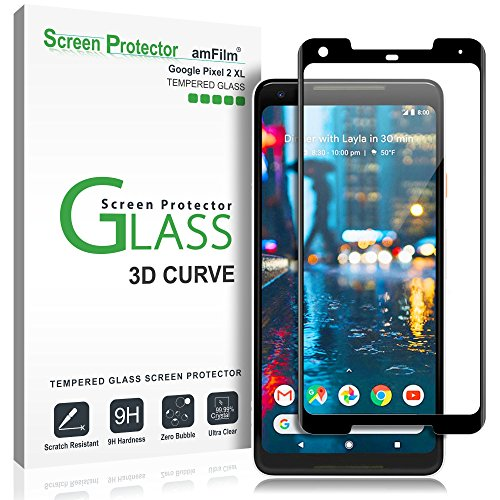 Google Pixel 2 XL Screen Protector Glass, amFilm Full Cover (3D Curved) Tempered Glass Screen Protector with Dot Matrix for Google Pixel 2 XL (1 Pack, Black)