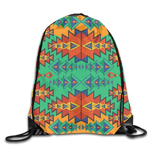 ZHIZIQIU Drawstring Bag Aztec Pattern Art Womens Gym Backpack Customized Mens Travel Small Bags for Boys