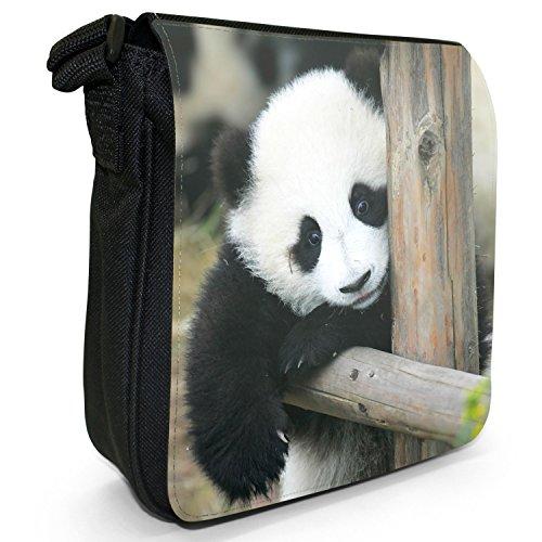 Panda piccolo nero Tela Borsa a tracolla, taglia S Panda Cub Relaxing