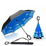 Baby Pig Innovative Reverse Regenschirm C-förmigem Hände frei Griff Double Layer Winddicht Taschenschirm Stockschirme für Damen und Herren. –(106 cm) (wind)