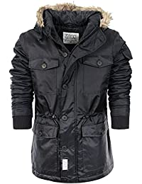 Mens Winter Coat by D-Struct 'Taschen' Fur Hooded Padded Jacket Sizes S-XL